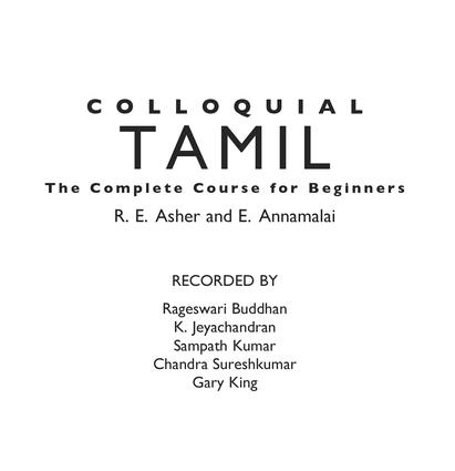 Colloquial Tamil: The Complete Course for Beginners book cover
