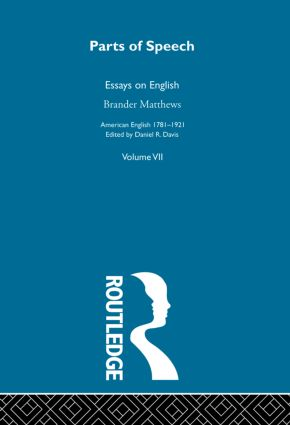 Parts Of Speech:Essays English (Hardback) book cover