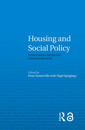 Housing and Social Policy: Contemporary Themes and Critical Perspectives (Paperback) book cover