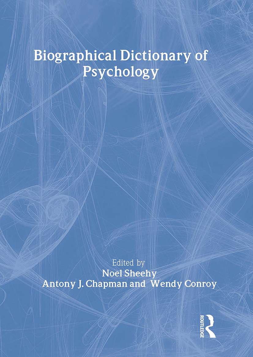 Biographical Dictionary of Psychology: 1st Edition (e-Book) book cover