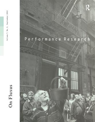 Performance Research V7 Issu 3 book cover