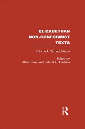 Elizabethan Non-Conformist Texts (e-Book) book cover