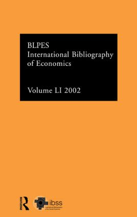 IBSS: Economics: 2002 Vol.51: 1st Edition (Hardback) book cover
