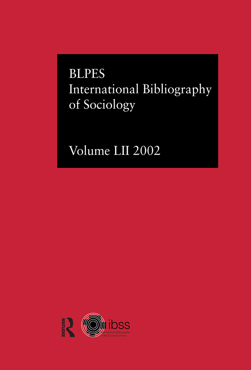 IBSS: Sociology: 2002 Vol.52 (Hardback) book cover