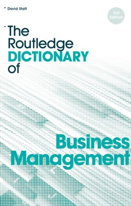 The Routledge Dictionary of Business Management book cover