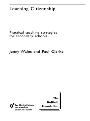 Learning Citizenship: Practical Teaching Strategies for Secondary Schools (Paperback) book cover