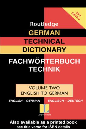 German Technical Dictionary (Volume 2): 2nd Edition (Hardback) book cover
