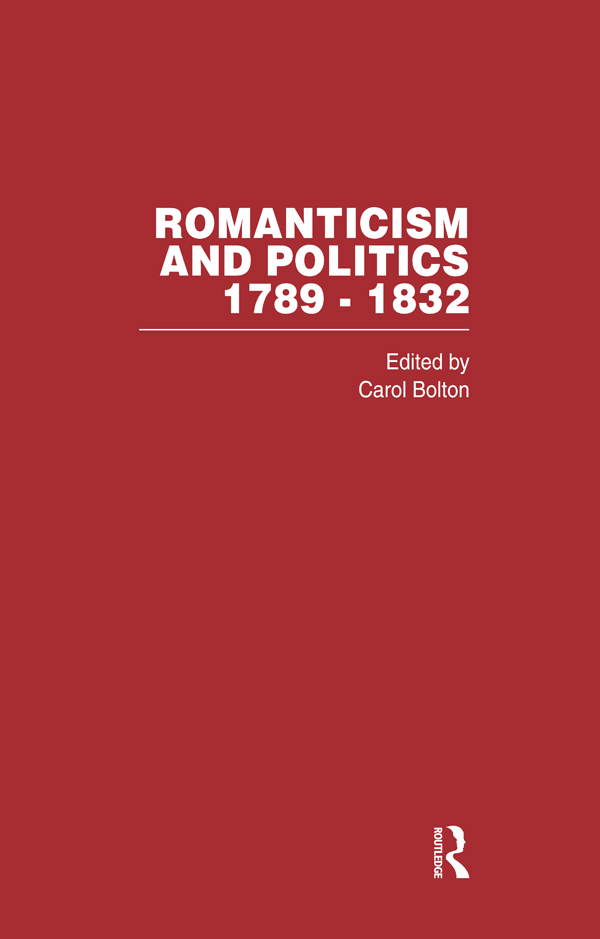 Romanticism&Politics 1789-1832 (Hardback) book cover