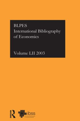 IBSS: Economics: 2003 Vol.52 book cover
