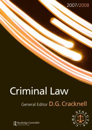 Criminal Law 2007-2008: Routledge-Cavendish Core Statutes Series book cover