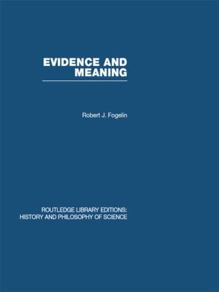 Evidence and Meaning: Studies in Analytic Philosophy (Hardback) book cover