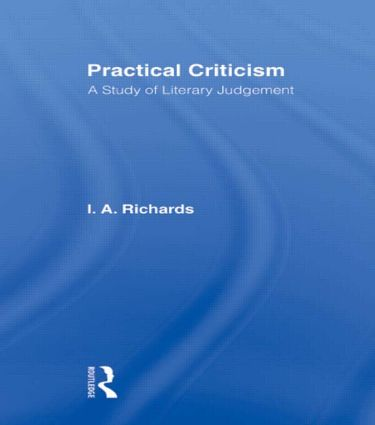 Practical Criticism V 4: 1st Edition (Paperback) book cover