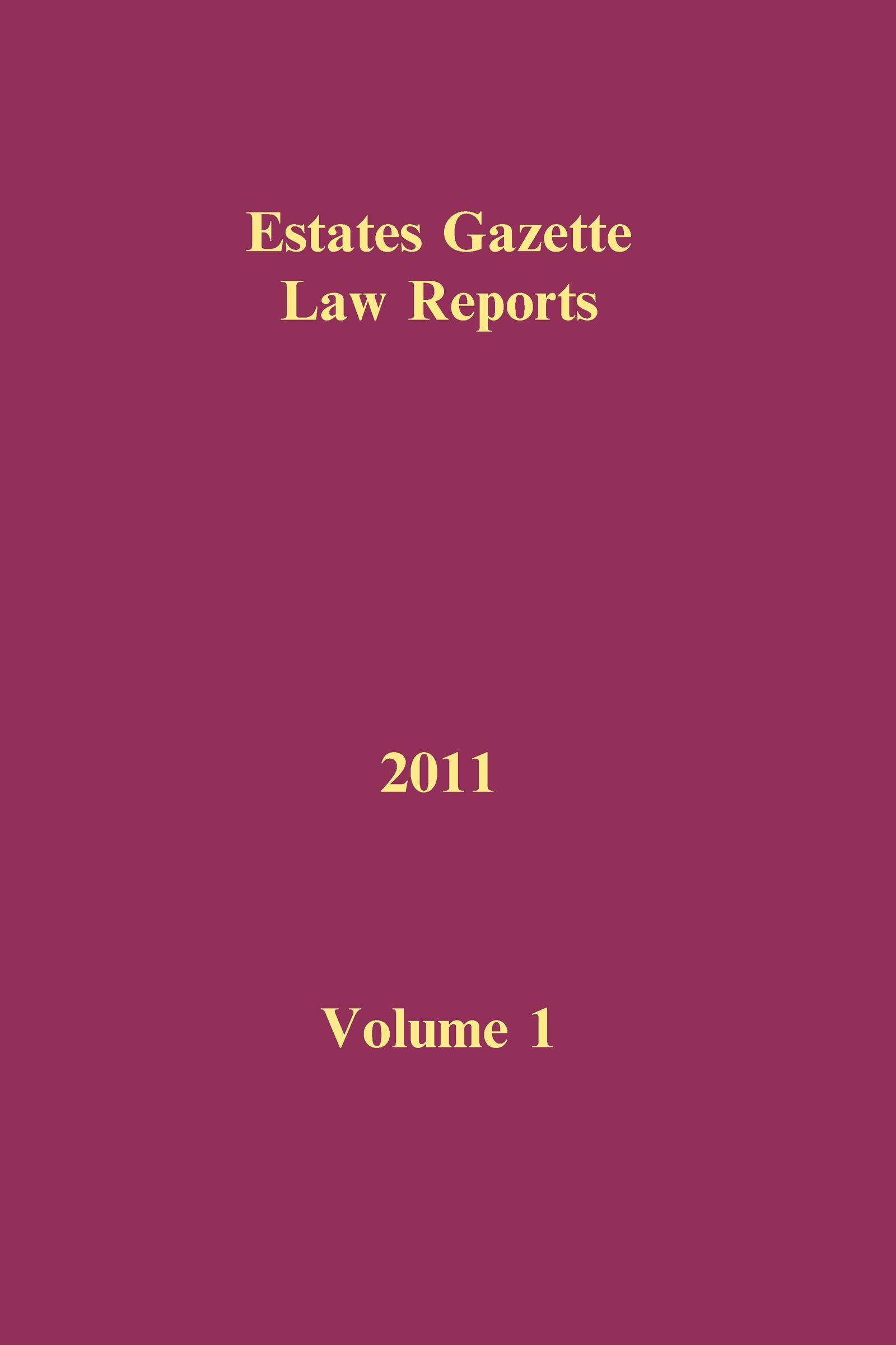 EGLR 2011 Volume 1 book cover