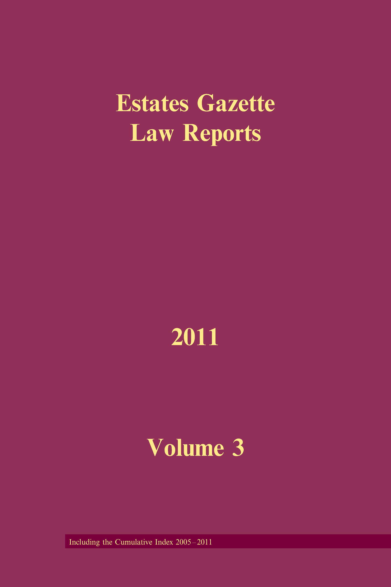 EGLR 2011 Volume 3 and Cumulative Index (Hardback) book cover