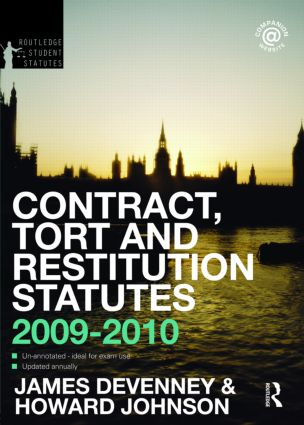 Contract, Tort and Restitution Statutes 2009-2010 book cover