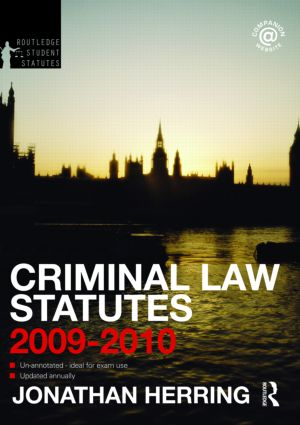 Criminal Law Statutes 2009-2010 book cover