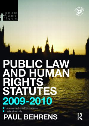 Public Law and Human Rights Statutes 2009-2010 book cover
