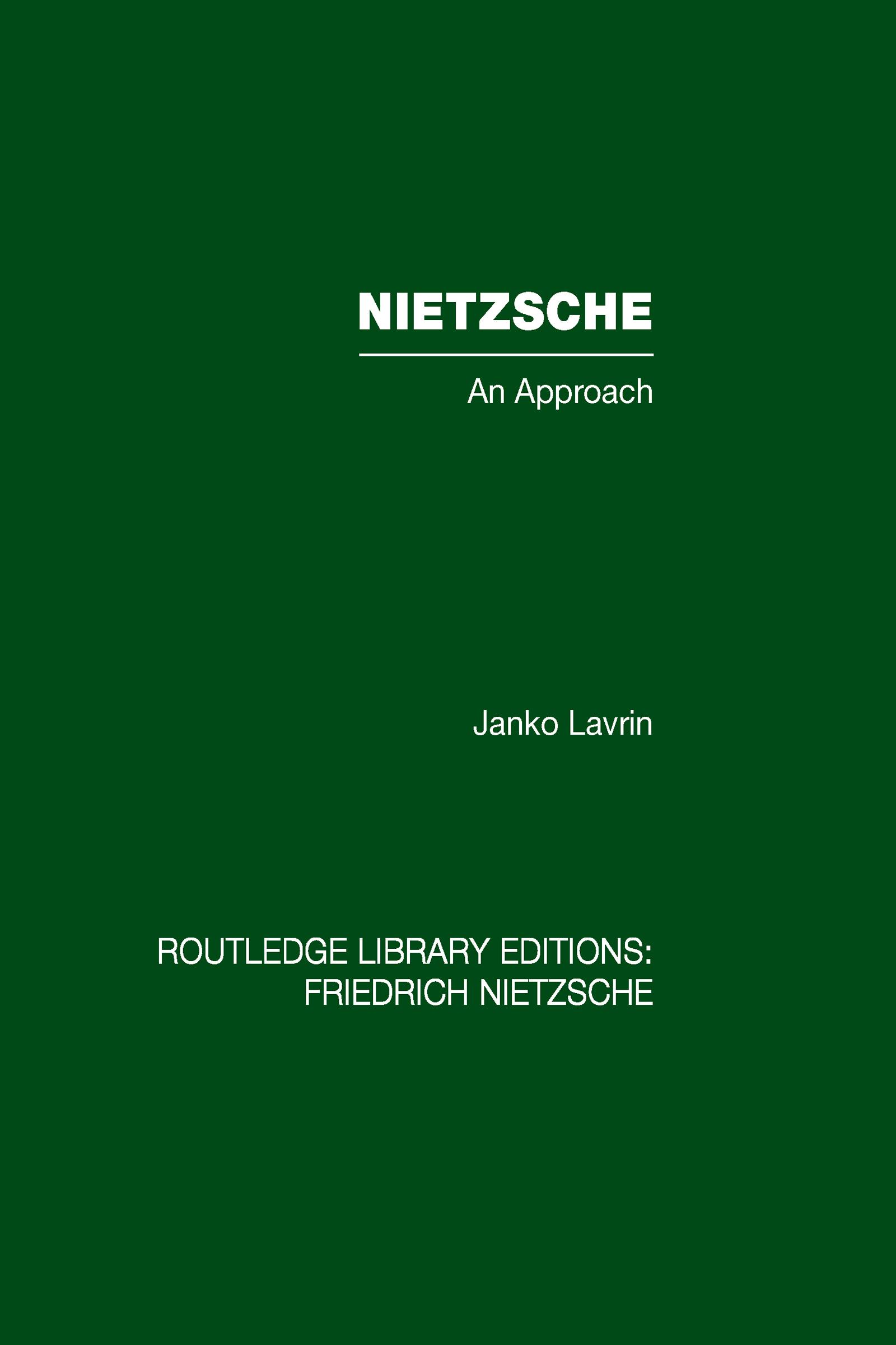 Nietzsche: An Approach book cover