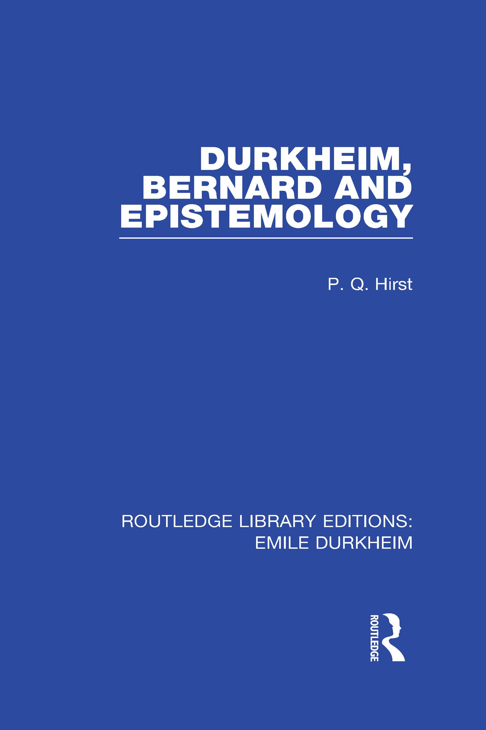 Durkheim, Bernard and Epistemology (Hardback) book cover