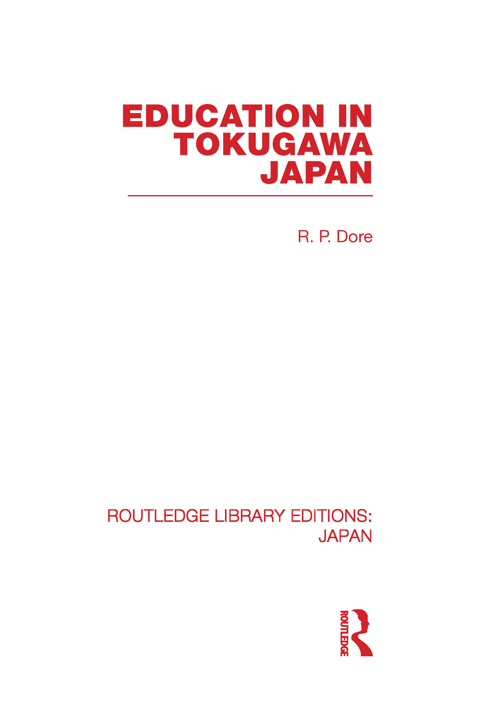 Education in Tokugawa Japan: 1st Edition (Hardback) book cover