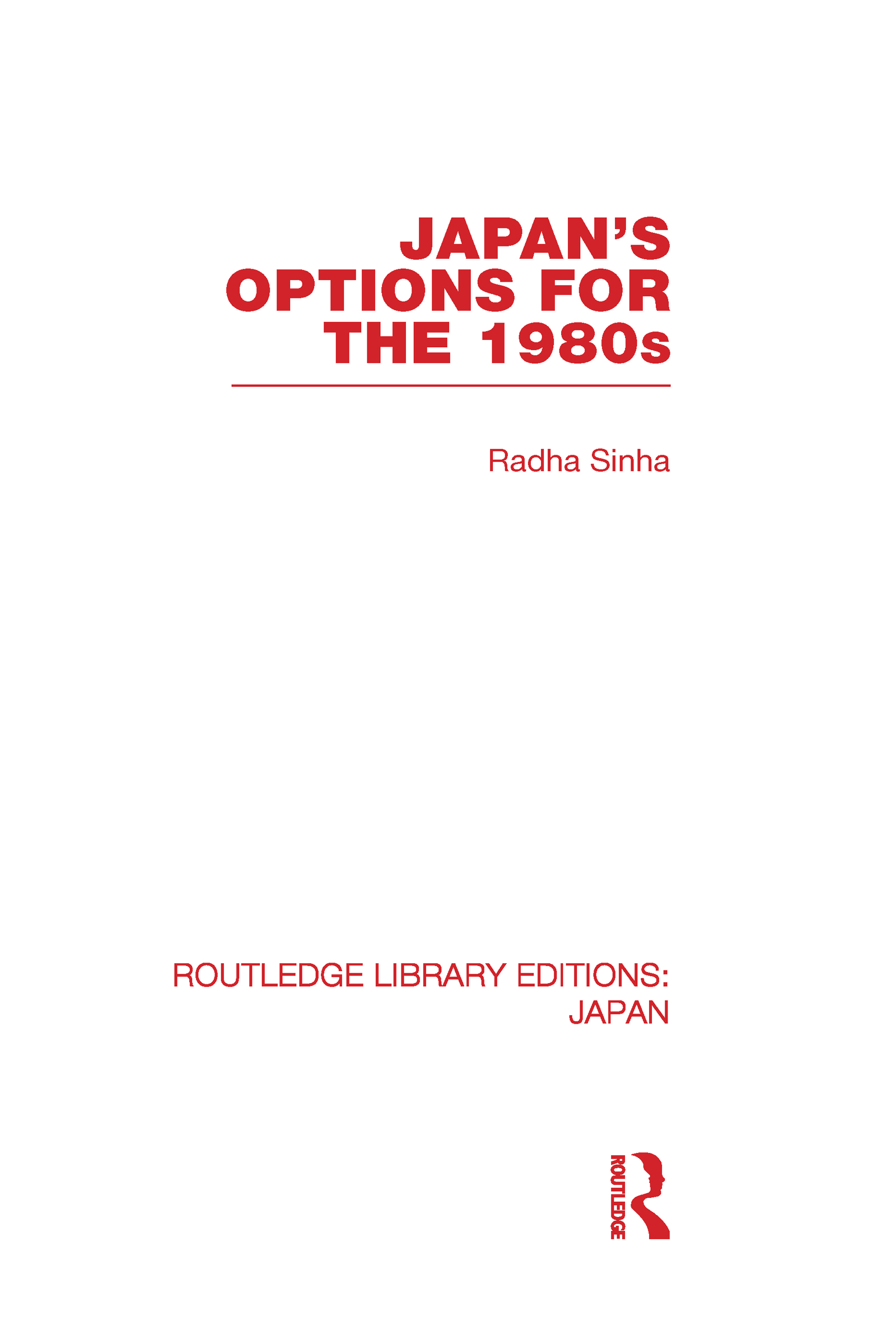 Japan's Options for the 1980s (Hardback) book cover