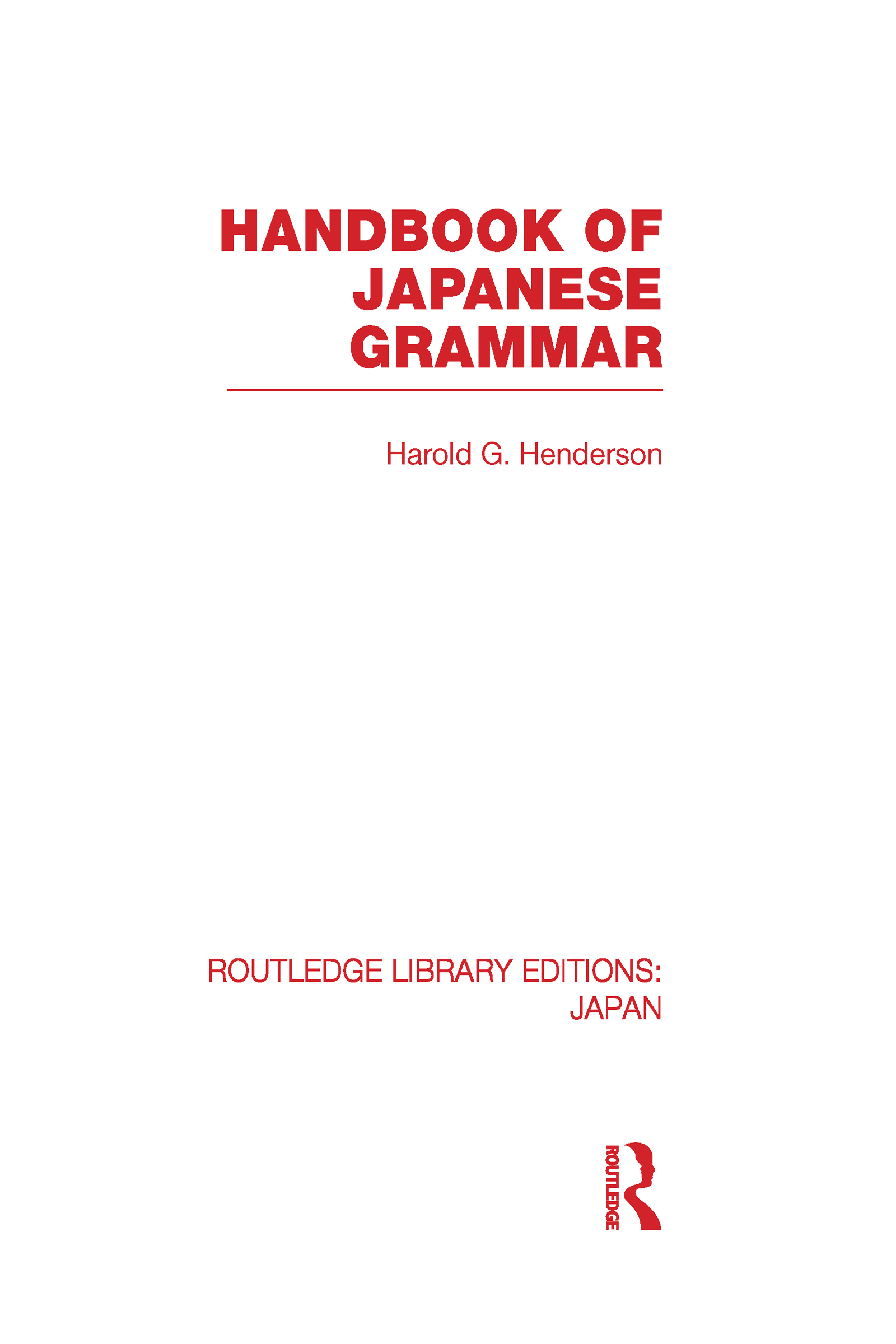 Handbook of Japanese Grammar (Hardback) book cover