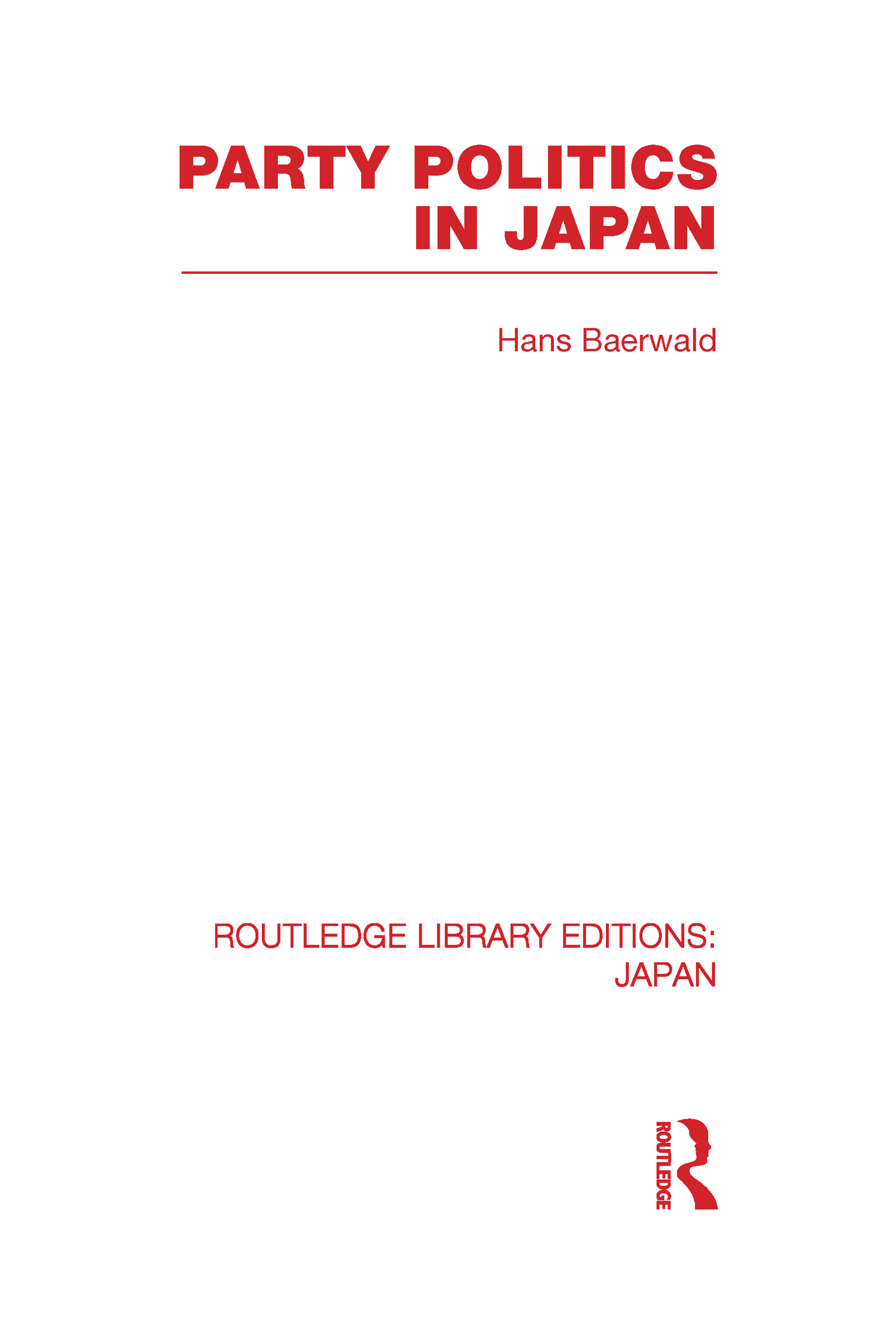Party Politics in Japan (Hardback) book cover