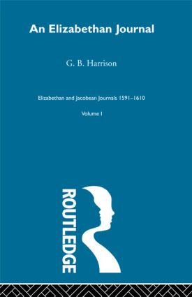 An Elizabethan Journal V1: 1st Edition (Paperback) book cover
