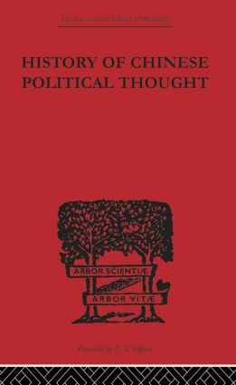 History of Chinese Political Thought: During the Early Tsin Period (Paperback) book cover