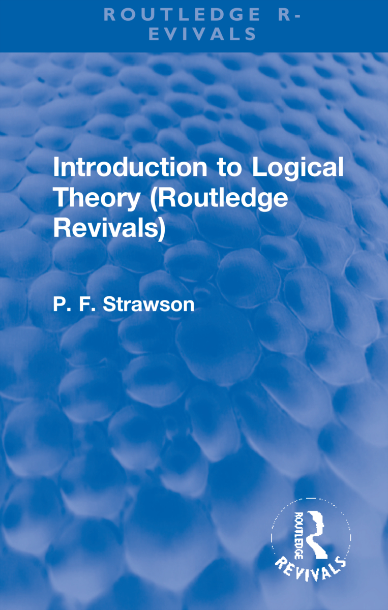 Introduction to Logical Theory (Routledge Revivals) (Hardback) book cover