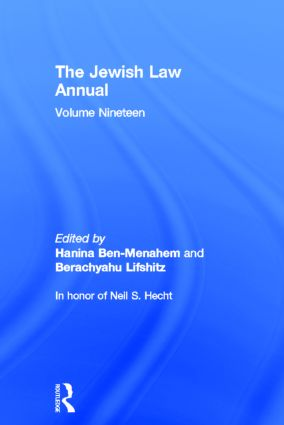 The Jewish Law Annual Volume 19 (Hardback) book cover