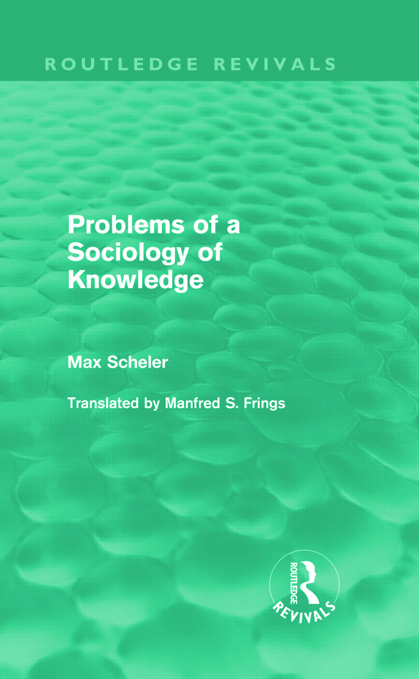 Problems of a Sociology of Knowledge (Routledge Revivals): 1st Edition (Hardback) book cover