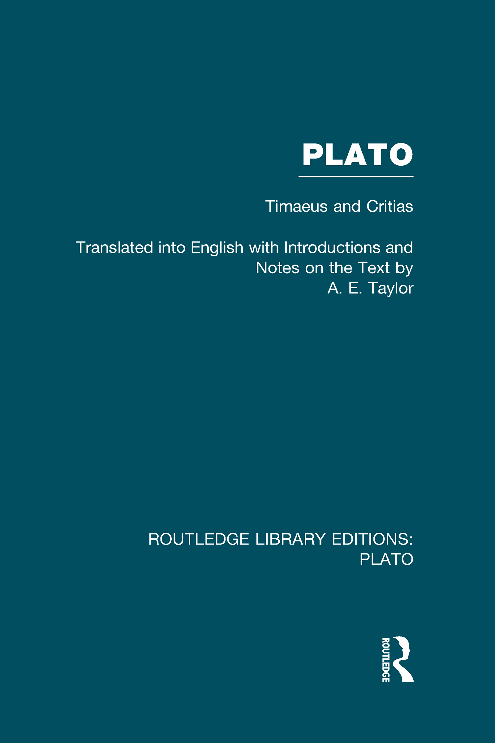Plato: Timaeus and Critias (RLE: Plato) (Hardback) book cover