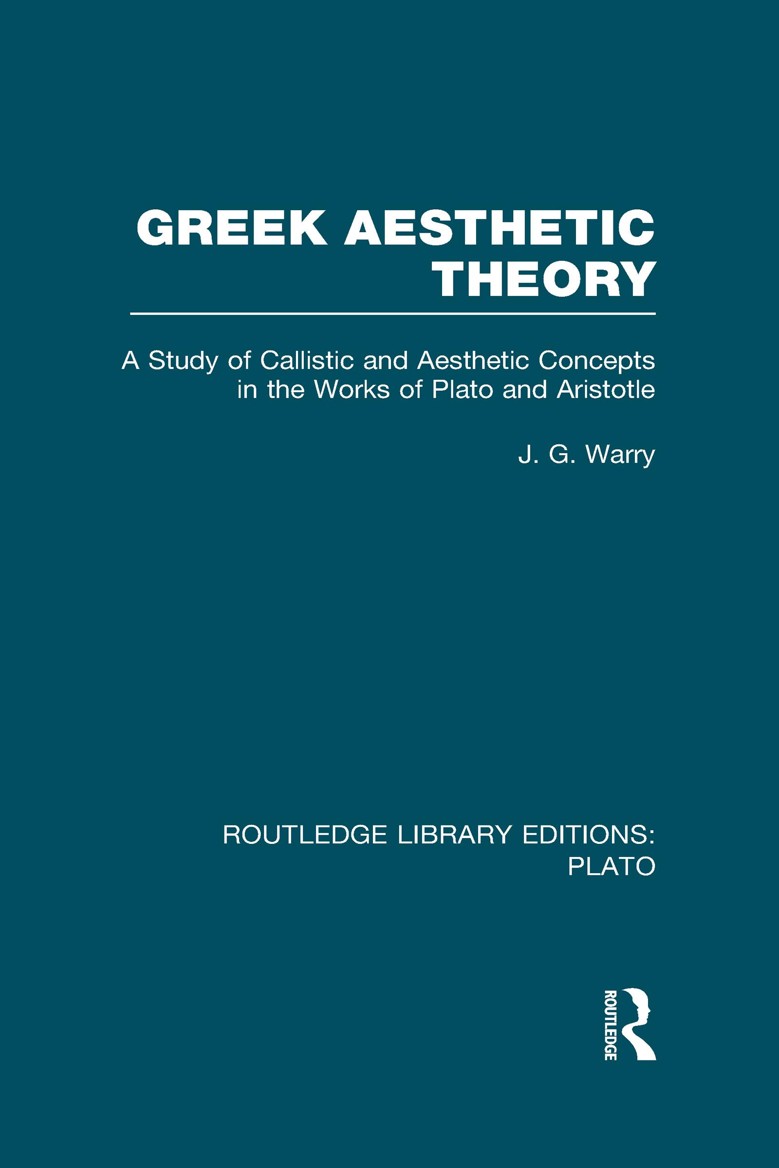 Greek Aesthetic Theory (RLE: Plato) (Hardback) book cover