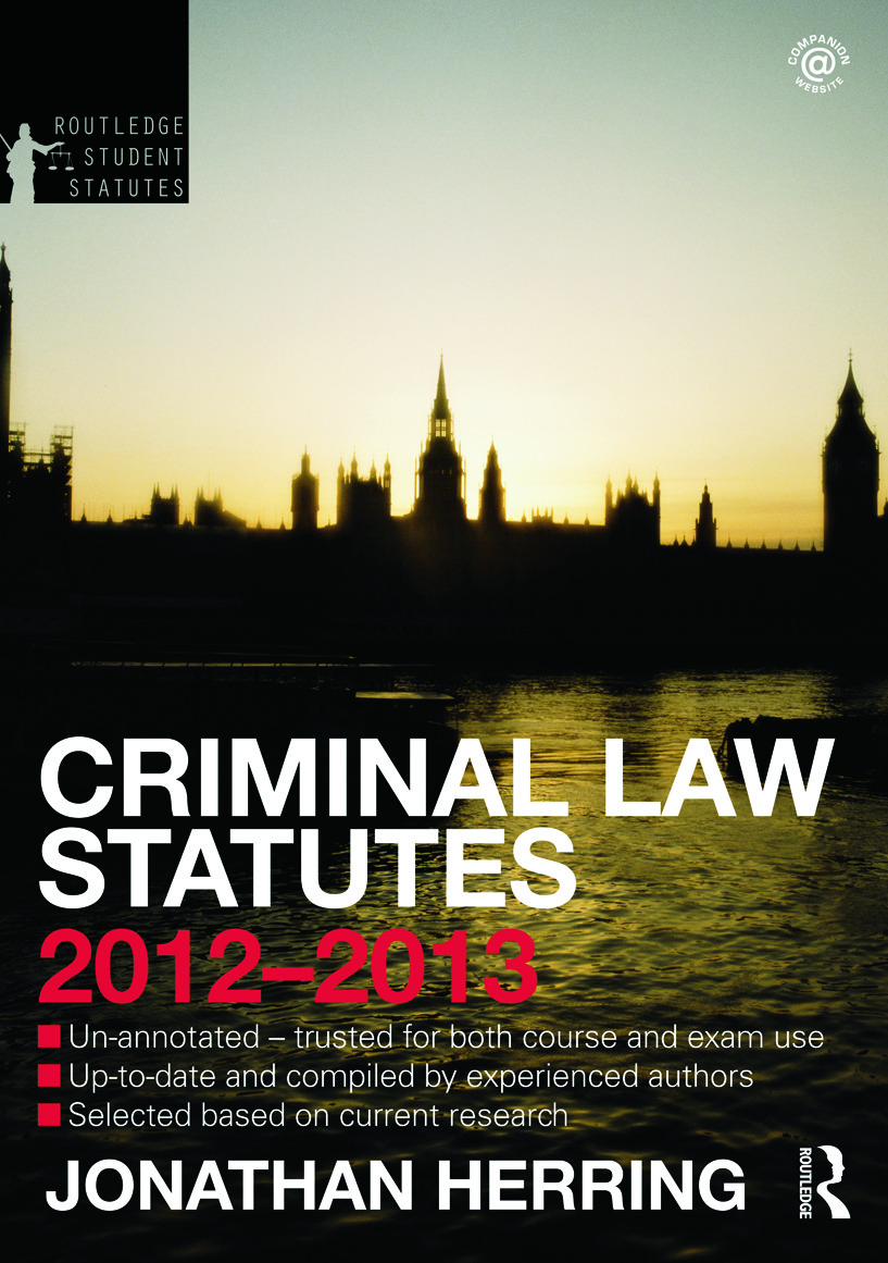 Criminal Law Statutes 2012-2013: 4th Edition (Paperback) book cover