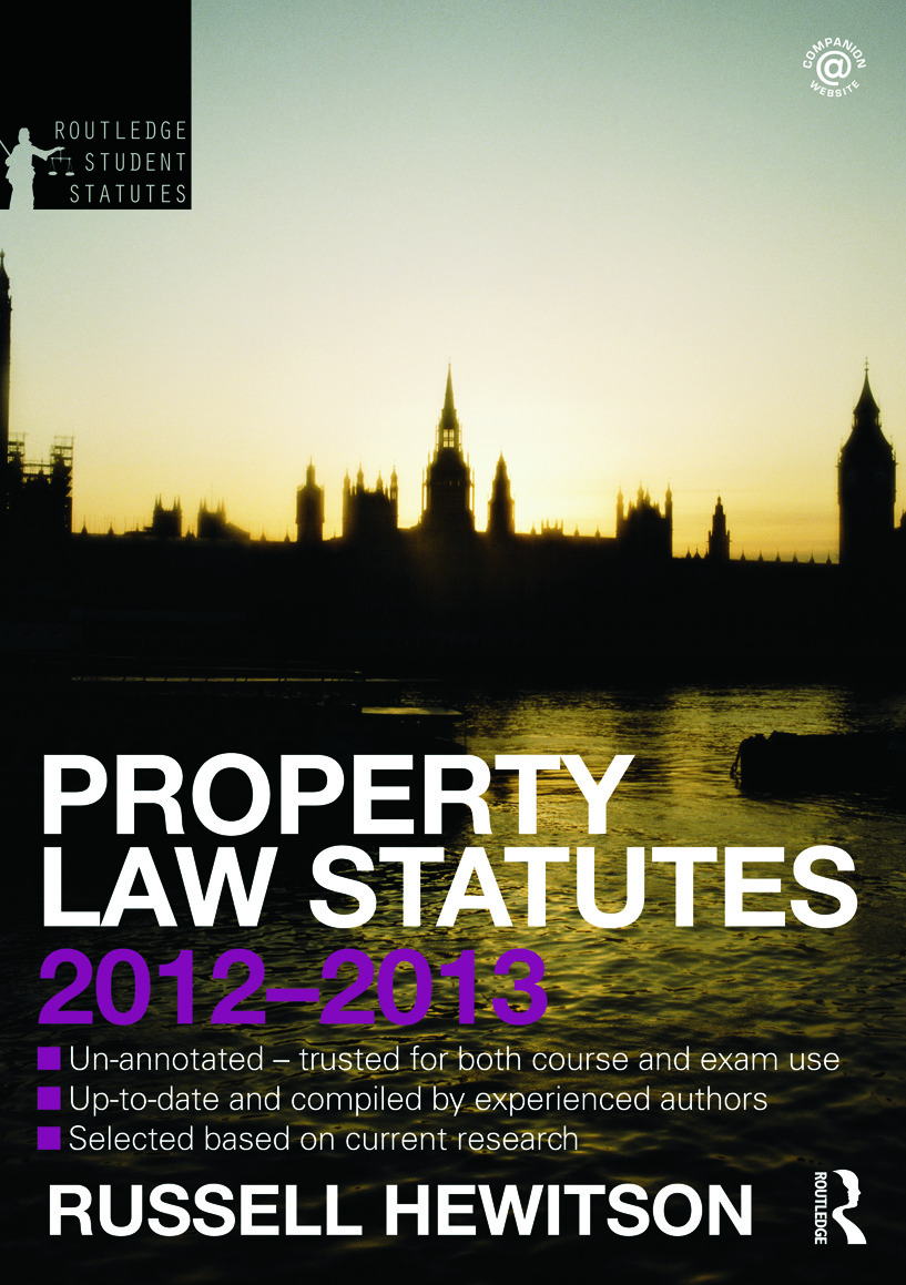 Property Law Statutes 2012-2013 book cover