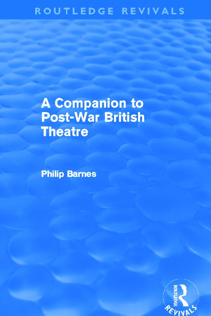 A Companion to Post-War British Theatre (Routledge Revivals) book cover