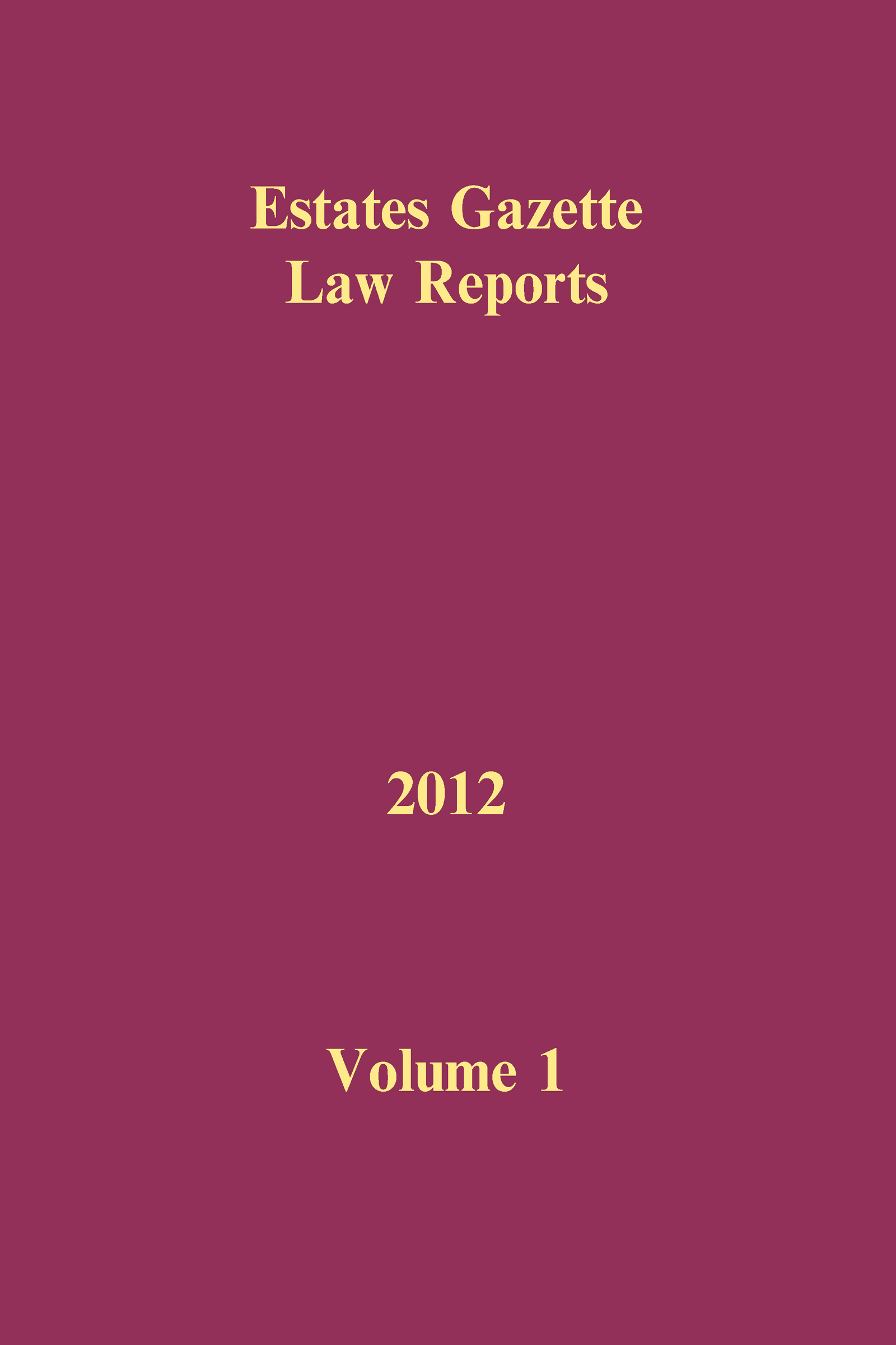 EGLR 2012 Volume 1 book cover
