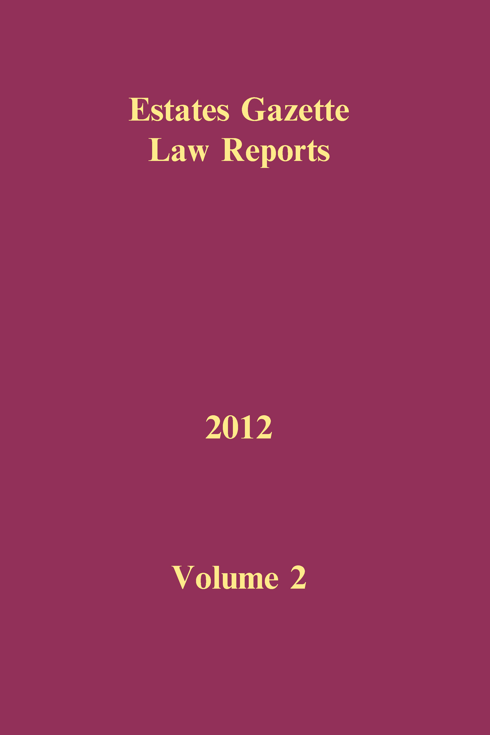 EGLR 2012 Volume 2 book cover