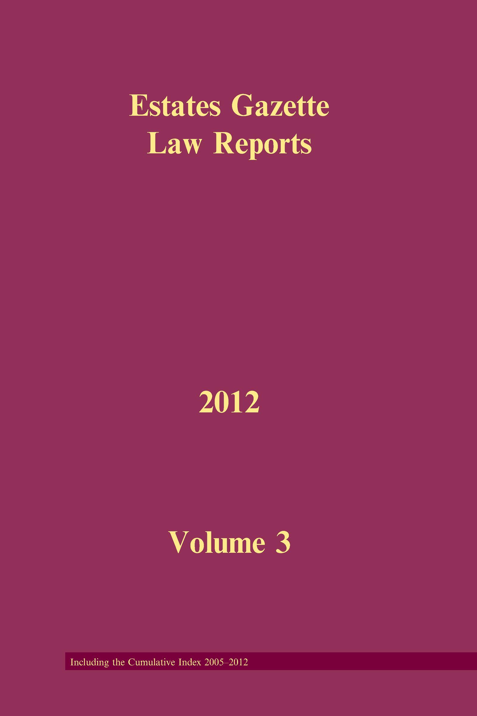 EGLR 2012 V3 (Hardback) book cover