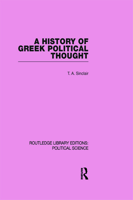 A History of Greek Political Thought (Routledge Library Editions: Political Science Volume 34) (Paperback) book cover