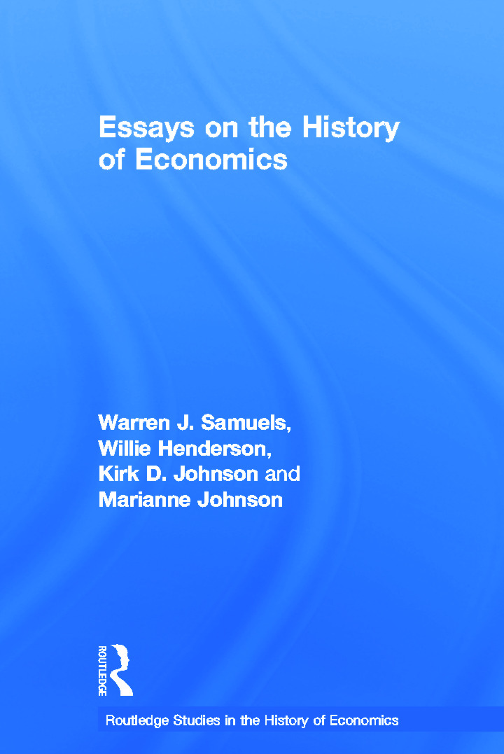 Essays in the History of Economics (Paperback) book cover