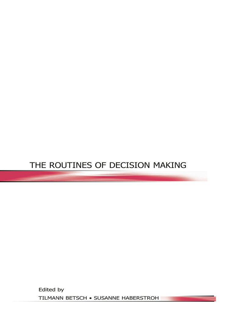 The Routines of Decision Making (Paperback) book cover