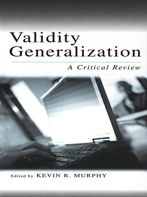 Validity Generalization: A Critical Review book cover