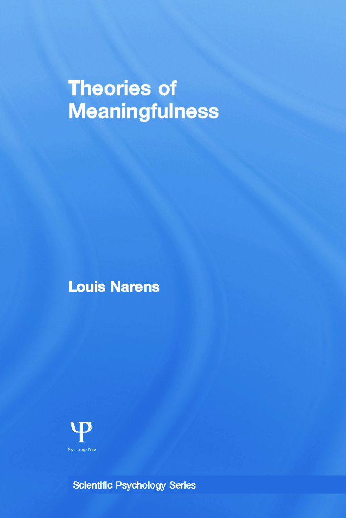 Theories of Meaningfulness (Paperback) book cover