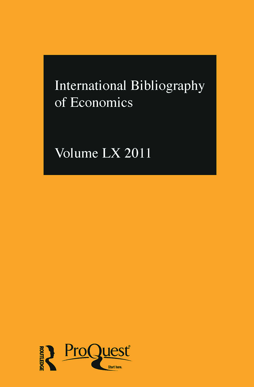 IBSS: Economics: 2011 Vol.60: International Bibliography of the Social Sciences (Hardback) book cover