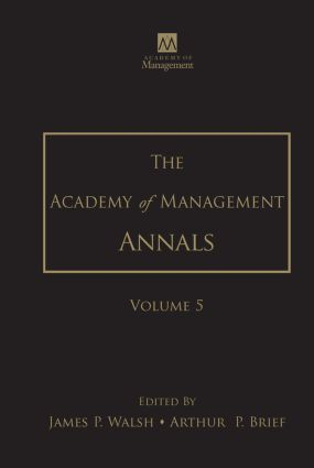 The Academy of Management Annals, Volume 5 book cover