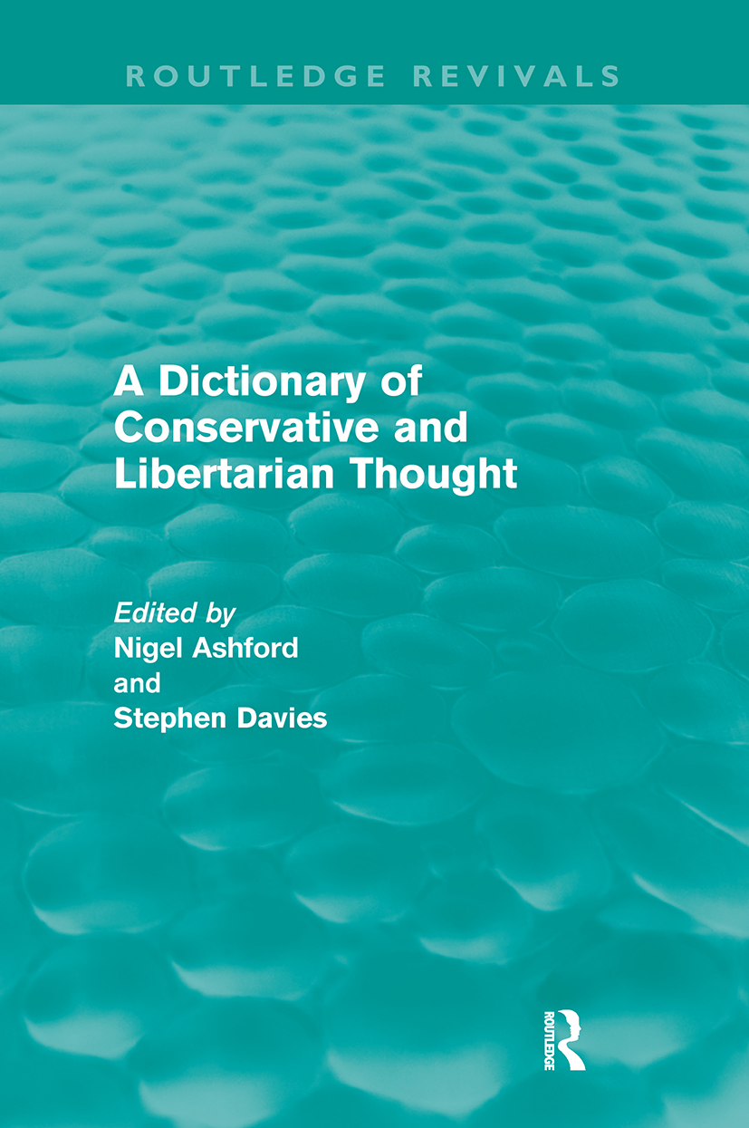 A Dictionary of Conservative and Libertarian Thought (Routledge Revivals) (Paperback) book cover