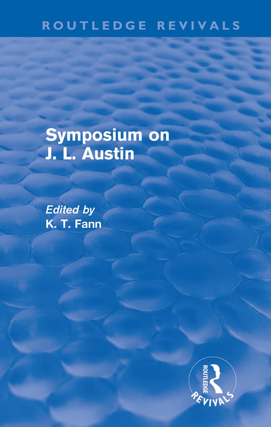 Symposium on J. L. Austin (Routledge Revivals) (Hardback) book cover