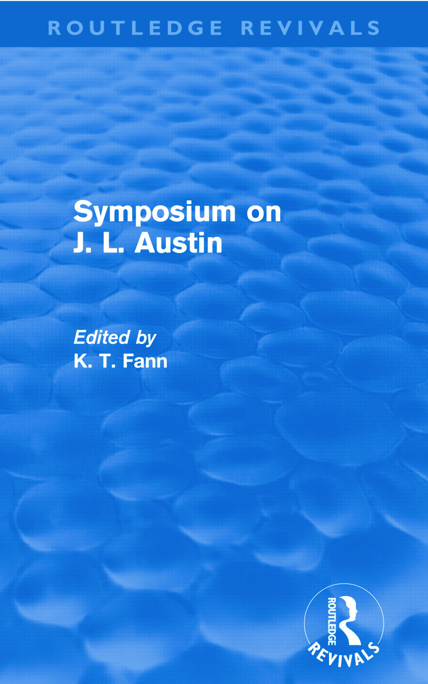 Symposium on J. L. Austin (Routledge Revivals) (Paperback) book cover